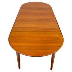 Large Danish Round Teak Dining Table, Three Skirted Leaves and One Unskirted