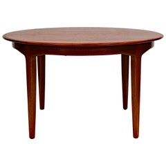 Large Danish Round Teak Dining Table, Three Skirted Leaves and One