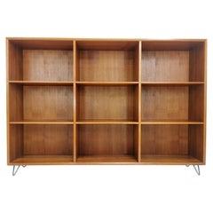 Large Danish Teak Bookcase Cabinet 1960s-1970s Midcentury Hairpin Legs