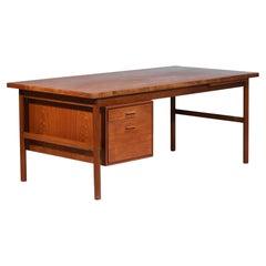 Large Danish Teak Desk with Pedestal, Scandinavian - E521