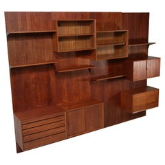 Large Danish Teak Wall Bookcase by Poul Cadovius 4 Sides, F139