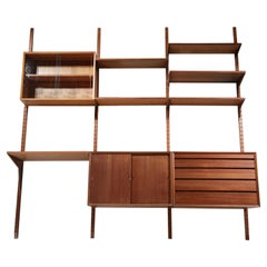 """Large Danish Teak Wall Bookcase """"ladder"""" by Poul Cadovius, F140"""