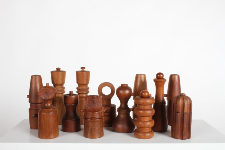 Instant collection of 13 Vintage Dansk pepper mills and salt shakers in various shapes and sizes all designed by IHQ or Jens Harald Quistgaard. All have been used, all vary in condition, but all are nice examples. The smallest is 6