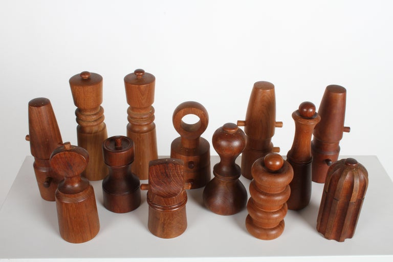 Mid-Century Modern Large Dansk Collection of Pepper Mills and Salt Shakers, IHQ For Sale