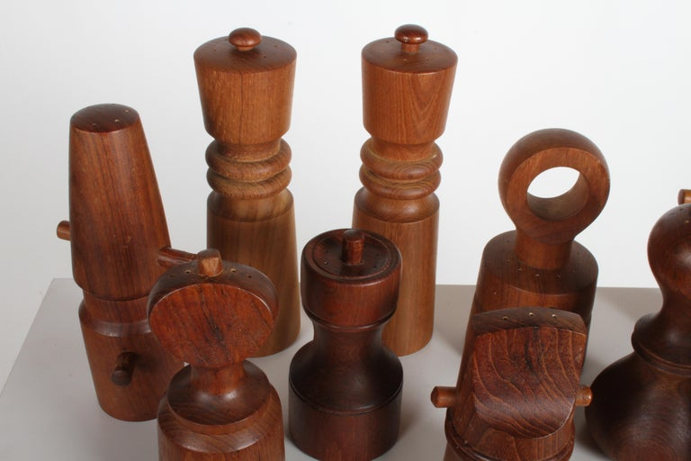 Danish Large Dansk Collection of Pepper Mills and Salt Shakers, IHQ For Sale