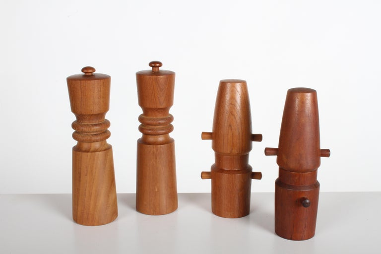 Teak Large Dansk Collection of Pepper Mills and Salt Shakers, IHQ For Sale