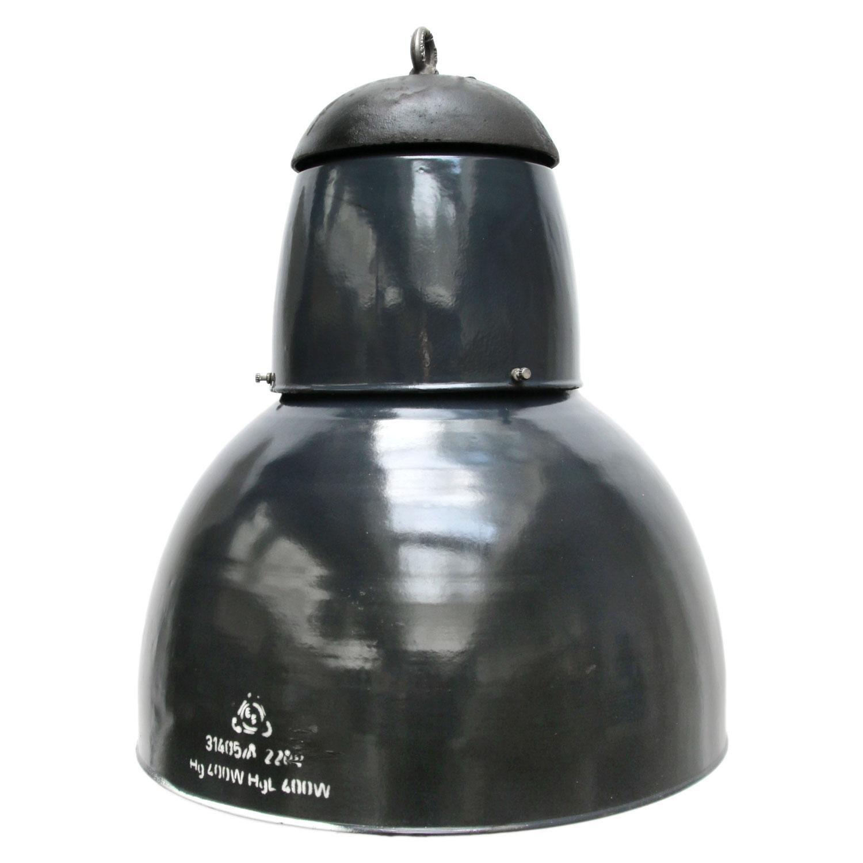 Large Dark Blue Enamel Vintage Industrial Cast Iron Top Pendant Lights