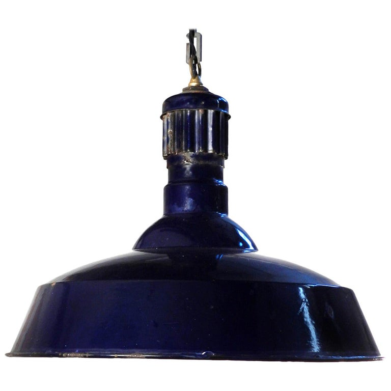 Large Dark Blue Porcelain Industrial Pendant