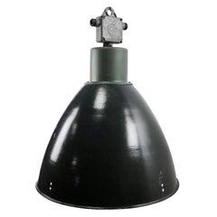 Large Dark Gray Enamel Vintage Industrial Pendant Light