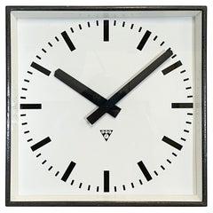 Large Dark Grey Square Wall Clock from Pragotron, 1960s