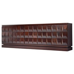 Large Dark Stained Brutalist Sideboard, 1970s