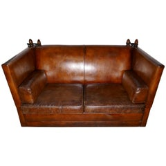 Large Dark Tan Leather Knole Settee
