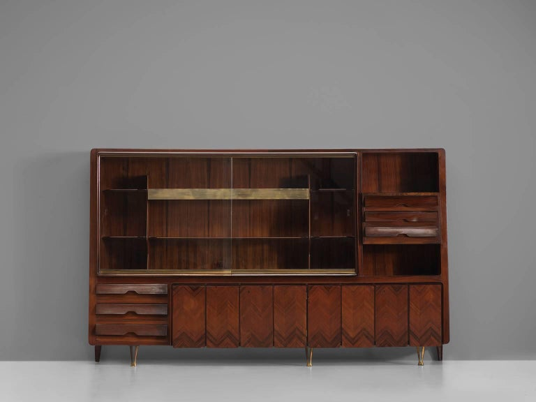 Mid-Century Modern Large Dassi Milano Cabinet with Brass, 1950s For Sale