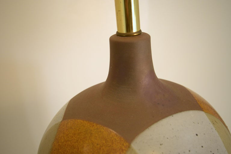 American Large David Cressey Table Lamp in Cast Stoneware with Dipped Glaze For Sale