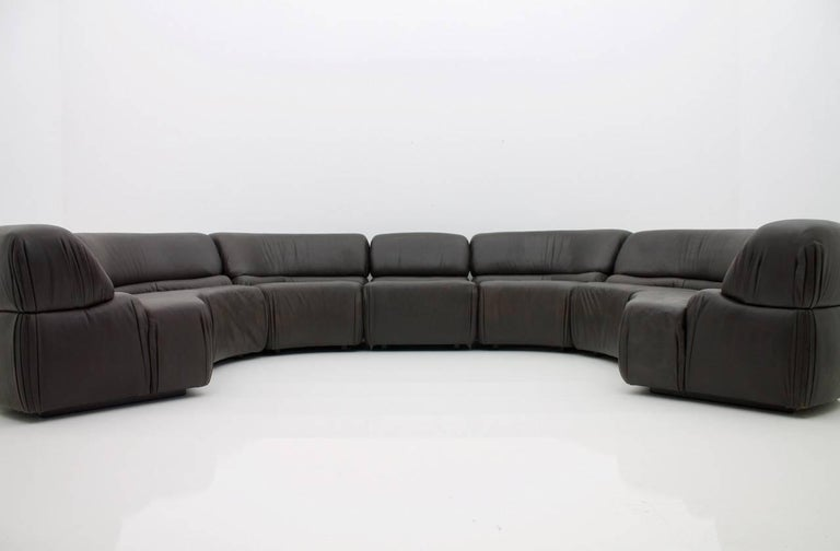 Late 20th Century De Sede Cosmos Sectional Sofa in Dark Brown Leather Switzerland, 1970s