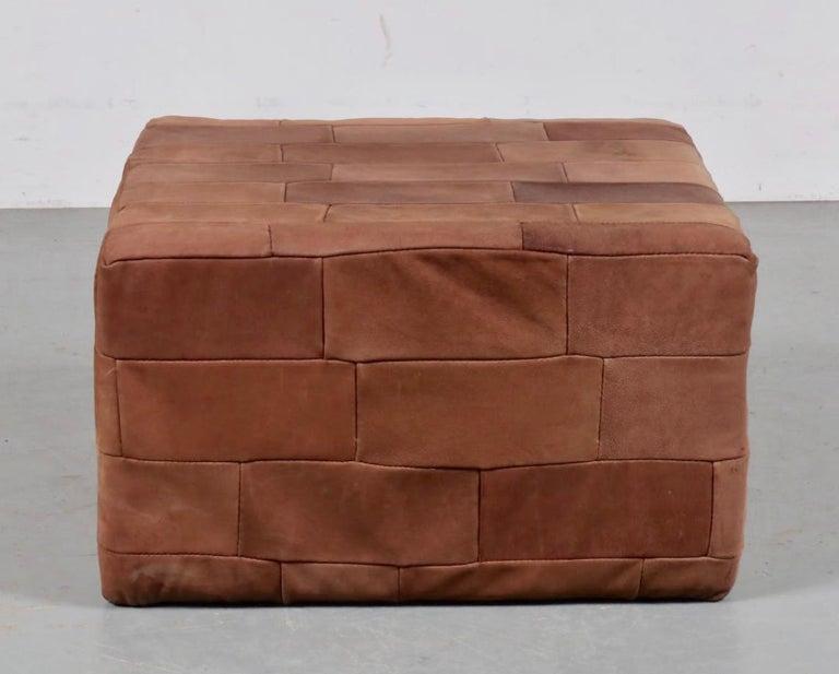 Swiss Large De Sede Patchwork Leather Ottoman For Sale
