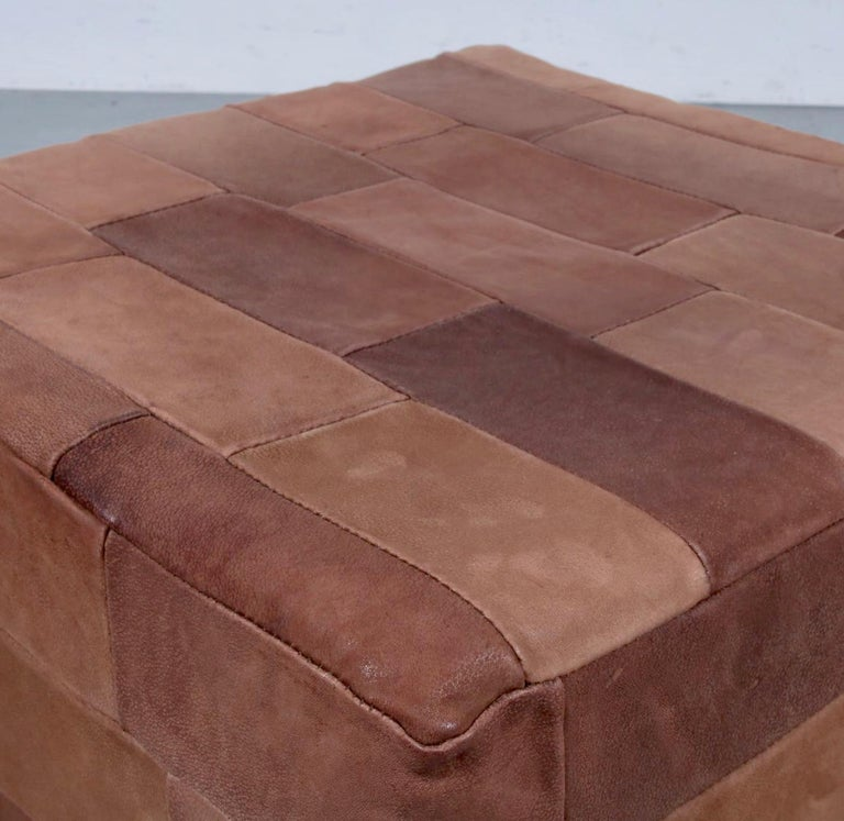 Large De Sede Patchwork Leather Ottoman In Good Condition For Sale In Los Angeles, CA