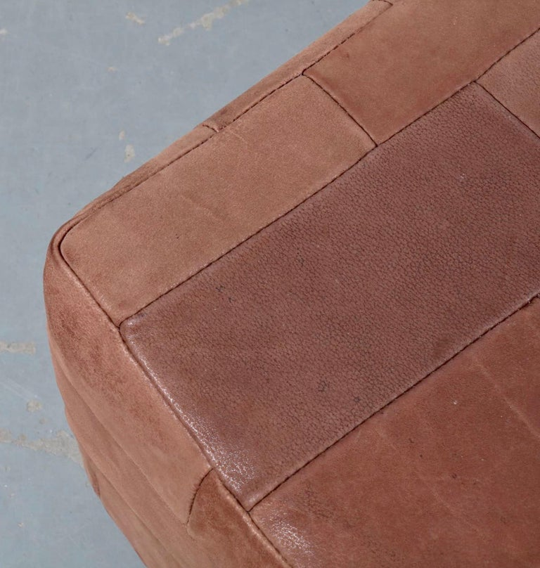 Large De Sede Patchwork Leather Ottoman For Sale 1