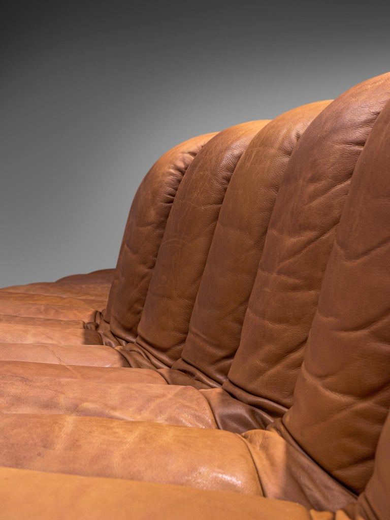 Large De Sede 'Snake' DS 600 Sectional Sofa in Cognac Leather For Sale 5