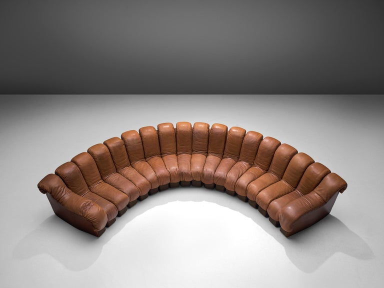 De Sede, 'Snake' DS-600, brown to cognac leather and felt, Switzerland, 1972.  De Sede 'Non Stop' sectional sofa containing eighteen pieces in original grey brown colored fabric, of which 16 centrepieces and two higher armrests. Any number of
