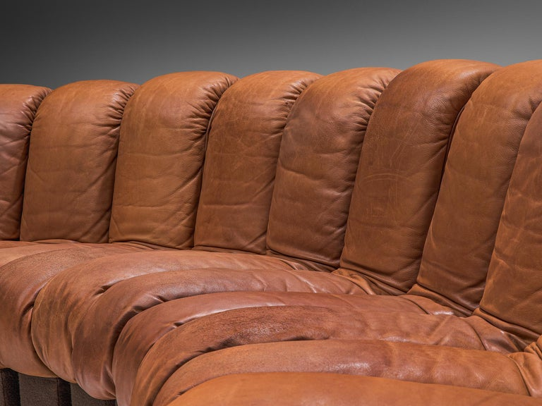 Large De Sede 'Snake' DS 600 Sectional Sofa in Cognac Leather For Sale 3