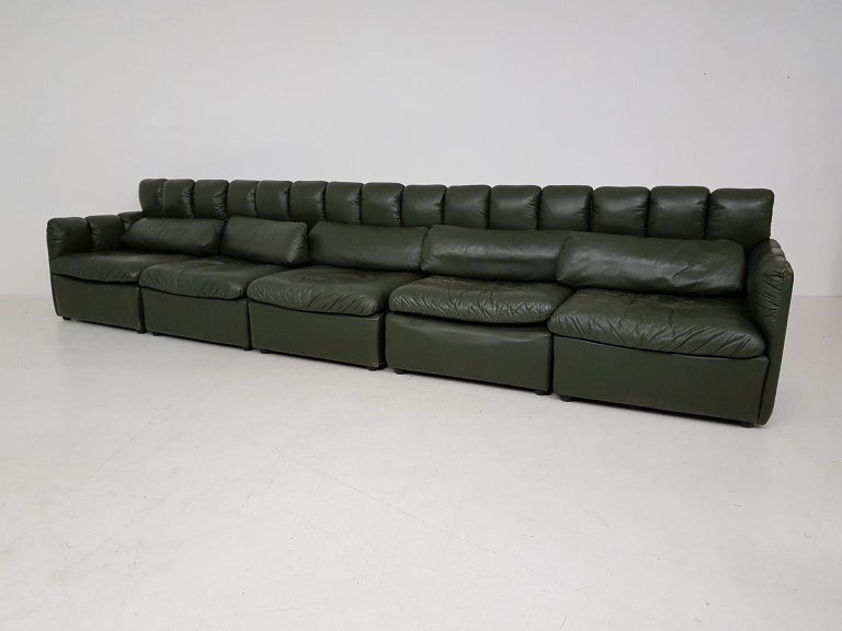 Large Quot De Sede Style Quot Dark Green Leather Modular Sofa