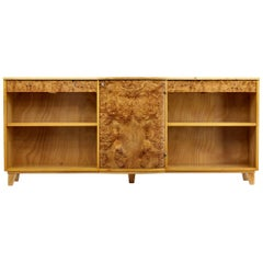 Large Deco Inspired Elm and Burr Low Open Bookcase