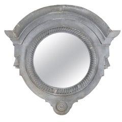 Large Decorative 19th Century Zinc Mirror with Rope Twist Design