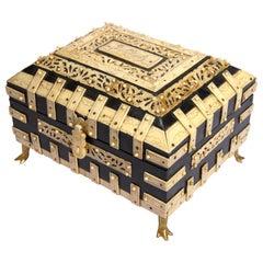 Large Decorative Anglo-Indian Vizagapatam Footed Box