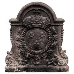 Large, Decorative Antique Cast Iron Fireback