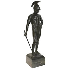 Large, Decorative Bronze Sculpture of a Spartan Warrior with Sword, Greco Roman