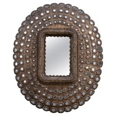 """Large Decorative Carved Wood """"Peacock"""" Oval Mirror"""