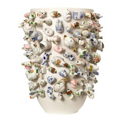 Large Decorative Ceramic Vase with Animal Figurines