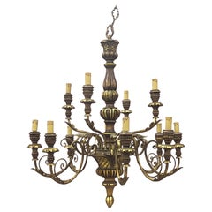 Large Decorative Chandelier in Wood and Wood and Gilded Iron, circa 1950