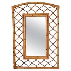 Large Decorative French Riviera Bamboo Mirror, circa 1960, France