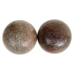 Large Decorative Granite Spheres, a Pair