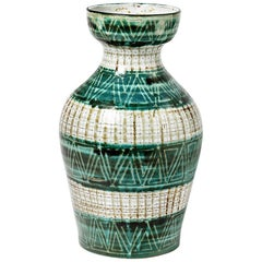 Large Decorative Green and White Ceramic Vase by Picault Vallauris, 1950