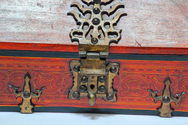Large Decorative Jewelry Box with Brass, Kerala Nettur Petti For Sale 8