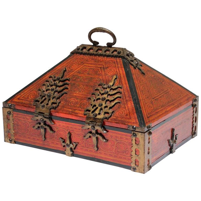 Large Decorative Jewelry Box with Brass, Kerala Nettur Petti For Sale