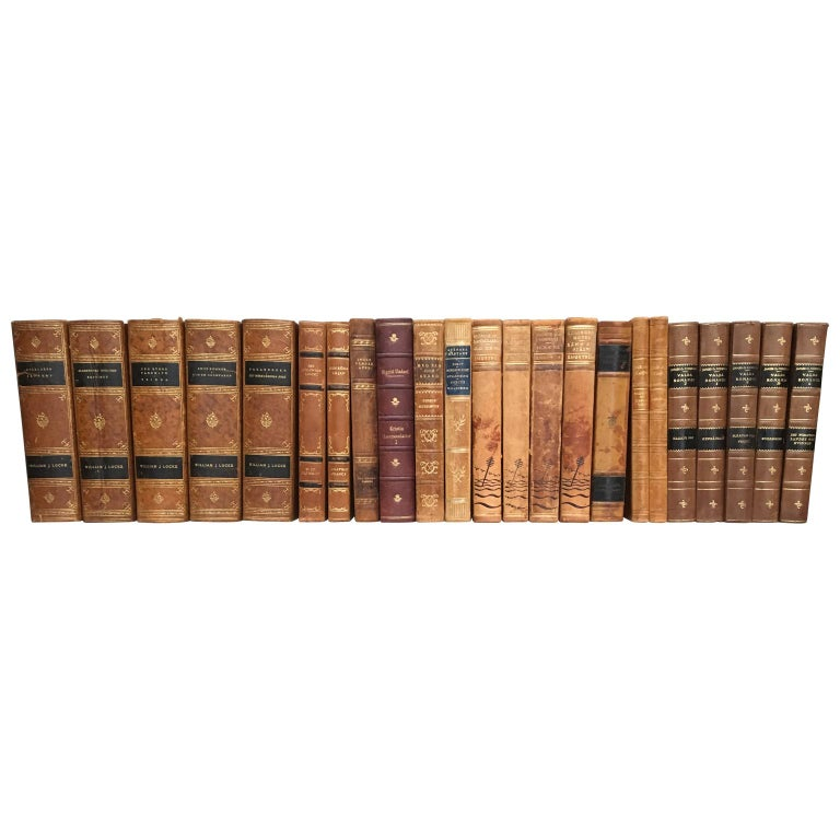 Large Decorative Library Collection of Scandinavian Antique Leather-Bound Books For Sale 7