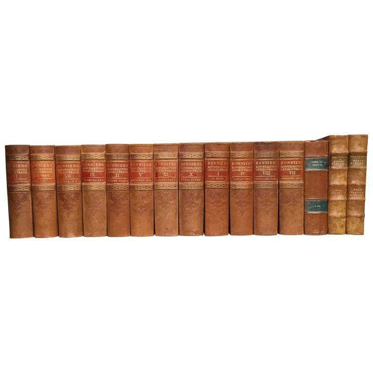 Large Decorative Library Collection of Scandinavian Antique Leather-Bound Books For Sale 8
