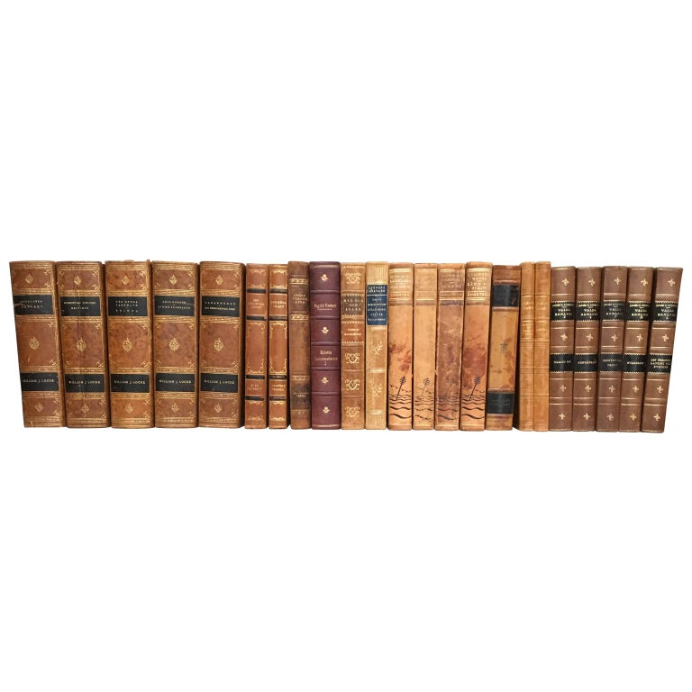 Large Decorative Library Collection of Scandinavian Antique Leather-Bound Books For Sale 9