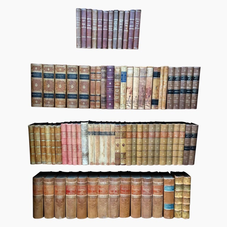 A large collection of Scandinavian decorative antique library leather-bound books   An attractive collection of 2500 mid-size antique leather-bound books. This lot of books on literature from Sweden are wrapped in leather-bound covers, comprised of