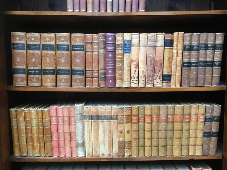 Large Decorative Library Collection of Scandinavian Antique Leather-Bound Books In Good Condition For Sale In Haddonfield, NJ