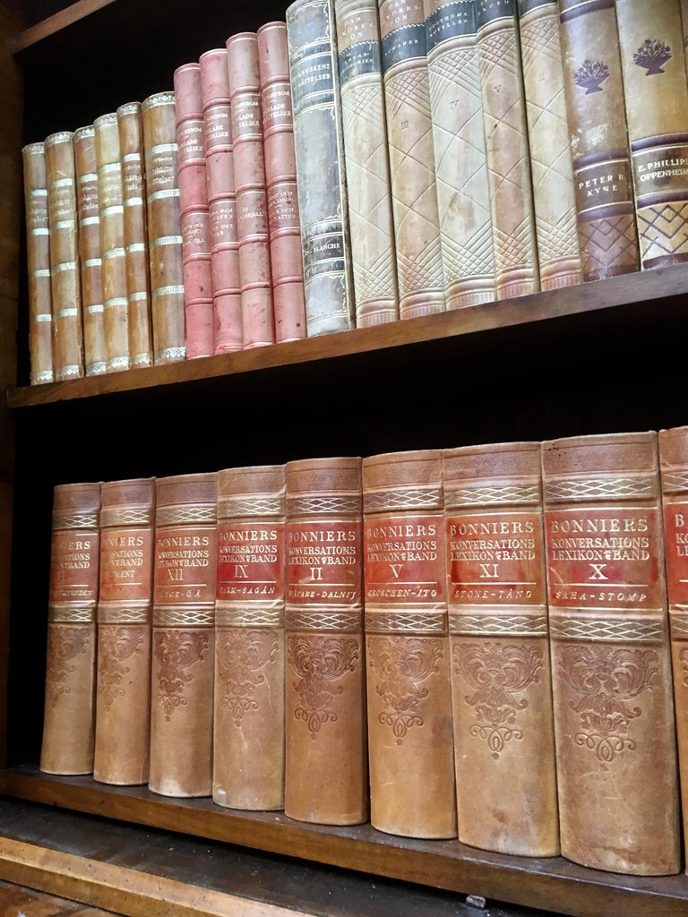 Large Decorative Library Collection of Scandinavian Antique Leather-Bound Books For Sale 1