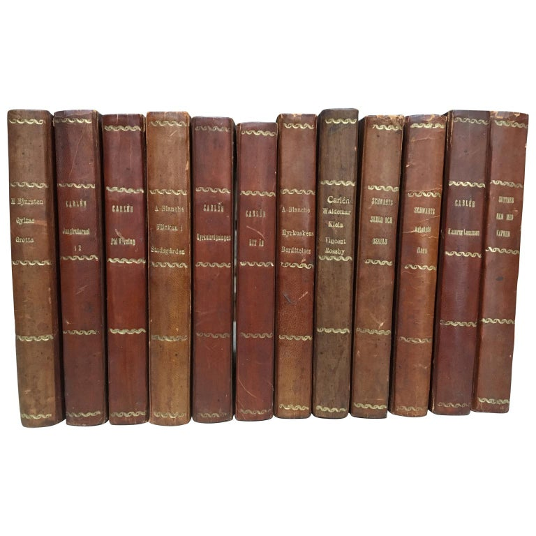Large Decorative Library Collection of Scandinavian Antique Leather-Bound Books For Sale 2