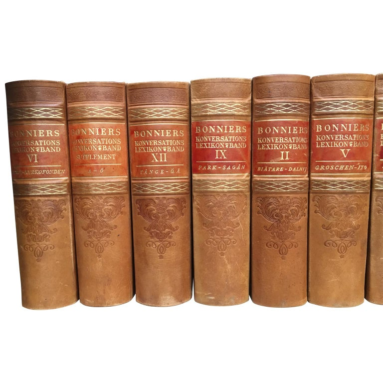 Large Decorative Library Collection of Scandinavian Antique Leather-Bound Books For Sale 3