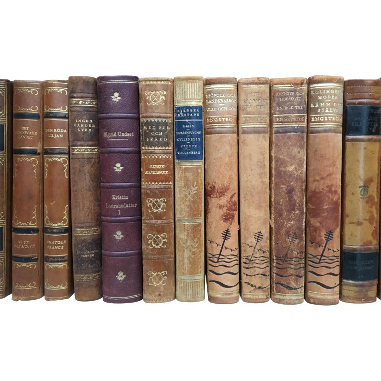 Large Decorative Library Collection of Scandinavian Antique Leather-Bound Books For Sale 4