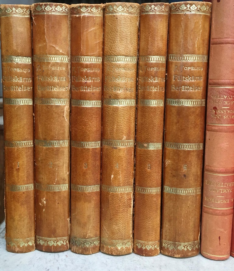 Large Decorative Library Collection of Scandinavian Antique Leather-Bound Books For Sale 5