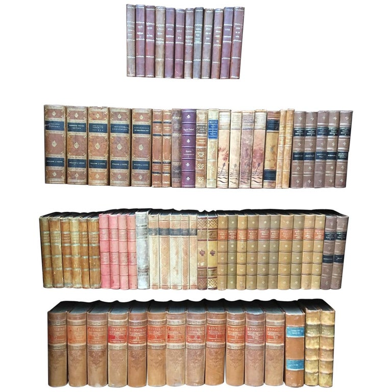 Large Decorative Library Collection of Scandinavian Antique Leather-Bound Books For Sale